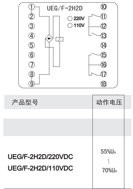 ueg/f-2h2d中间继电器价格_接线图_工作原理_说明书