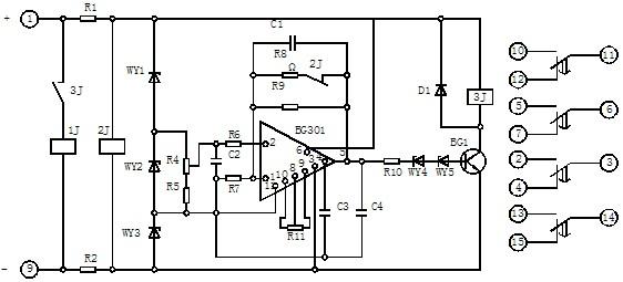 1 用途 BS-34时间继电器(以下简称继电器)作为自动控制中的时间元件,使被控制的线路可以得到可调的动作延时。 2 结构和工作原理 继电器采用JK-2壳体,其外形尺寸、后端子及安装开孔图见附图。 继电器由集成电路、电阻、电容及小型中间继电器等元件组成。当继电器加入额定电压时,2J经降压电阻R1、R2得到电压而动作,使其动断触点打开,此时电容C1开始积分。为了实现理想的积分,需要采取措施使电容两端电压随着时间的增长而增高,并使充电电流维持恒定,为此在集成电路的反馈回路接一个电容器C,如图3所示。 图 1