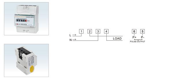 用 途  DDS13521B型单相导轨式电能表是我公司最新研制开发的新型单相全电子式电能表,该表性能符合GB/T17215-2002国家标准和IEC61036国家标准中0.5或1级单相电能表的相关技术要求,可直接精确地测量额定频率为50Hz或60Hz的单相交流电网中有功电能,由步进式机械计度器显示总用电量;具有可靠性好、体积小、重量轻、外形美观、安装灵活方便等特点。 功能特点