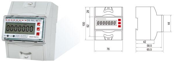 用 途  DDS13521C型单相导轨式电能表是我公司最新研制开发的新型单相全电子式电能表,该表性能符合GB/T17215-2002国家标准和IEC61036国家标准中0.5或1级单相电能表的相关技术要求,可直接精确地测量额定频率为50Hz或60Hz的单相交流电网中有功电能,由LCD显示总用电量;具有可靠性好、体积小、重量轻、外形美观、安装灵活方便等特点。 功能特点