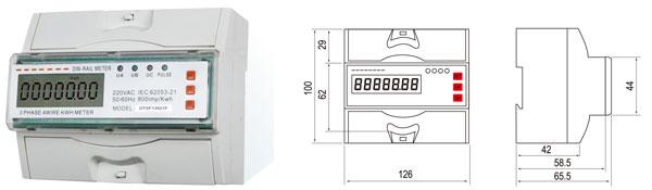 用 途  DTSF13521F型三相导轨式费率电能表是我公司最新研制开发的,具有7位宽温度型液晶显示,复费率(分时)电能计量,红外载波通讯RS485接1:3串行通讯抄表/设表等多种功能为一体的智能化全电子式电能表。该表性能完全符合部标DL/T614-1997和国标GB/T17215-2002中1或2级三相电能表的相关技术要求,具有可靠性好、体积小、重量轻、外形美观、安装灵活方便等特点。 功能特点